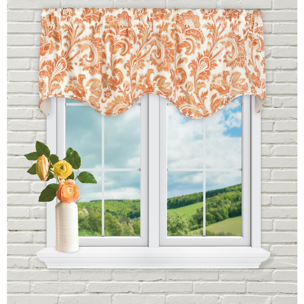 Ellis Curtain Boxtree 16 in. L Cotton Lined Scallop Valance in Orange