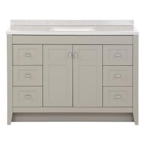 Bladen 48.5 in. W x 18.75 in. D Bath Vanity in Gray with Solid Surface Vanity Top in Polar Gray with White Sink