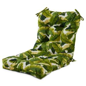 21 in. x 42 in. Outdoor Dining Chair Cushion in Palm Leaves White