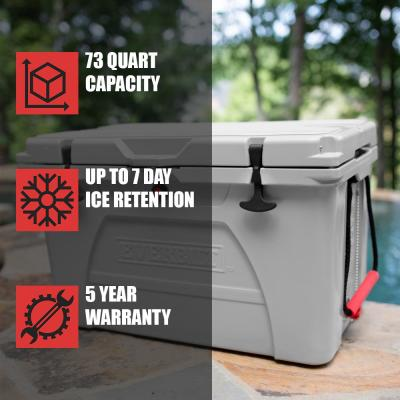 73 Qt. High-Performance Cooler in Gray with Lockable Lid - Holds 80 lbs. of Ice