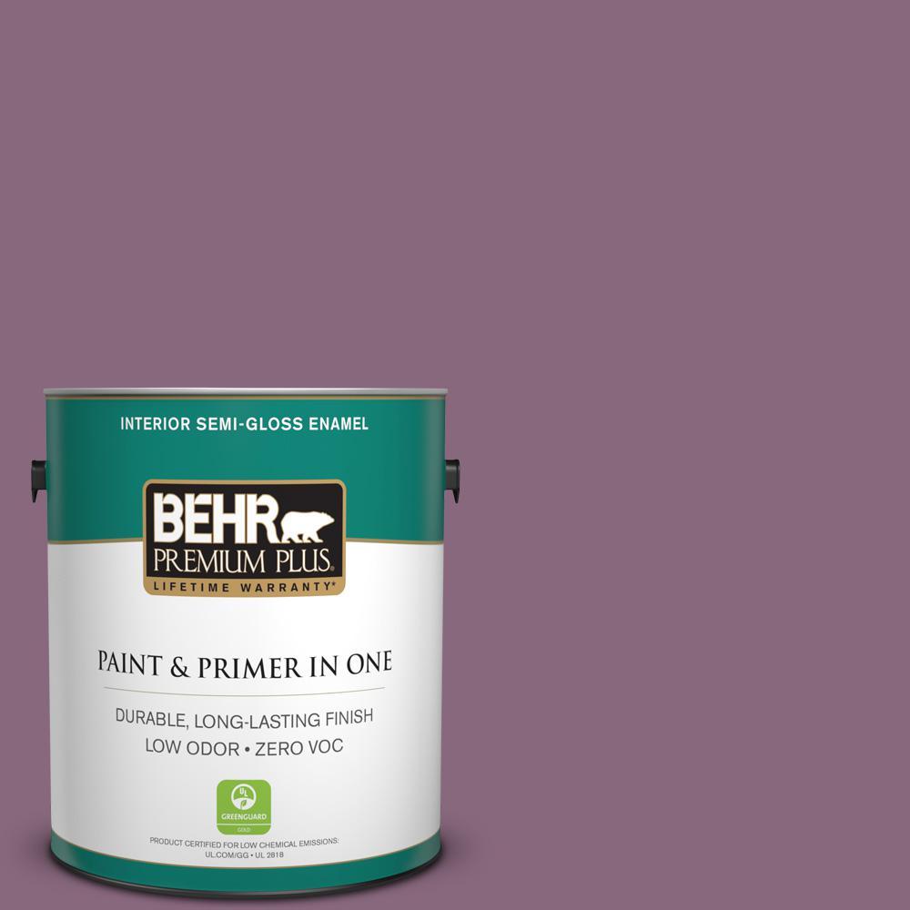 BEHR Premium Plus 1-gal. #S110-6 Plum Royale Semi-Gloss Enamel Interior Paint