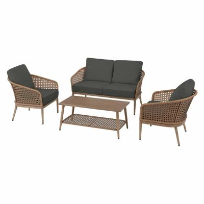Coral Vista 4-Piece Brown Wicker and Steel Patio Conversation Seating Set with CushionGuard Graphite Dark Gray Cushions