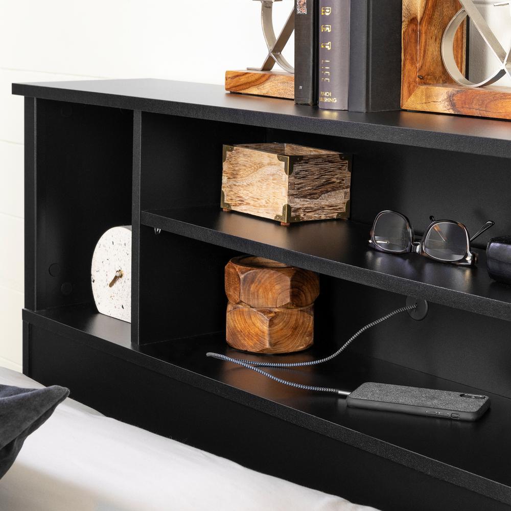 South Shore Vito Full Queen Size Bookcase Headboard In Pure Black