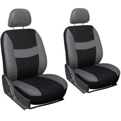 Polyester Seat Covers Set 26 in. L x 21 in. W x 48 in. H 6-Piece Seat Cover Set Gray and Black