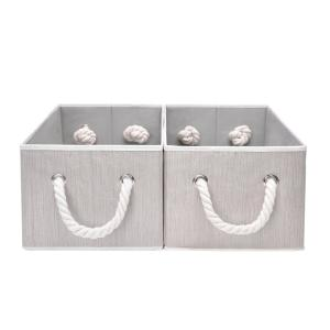 5-Gal. Rectangle Polyester Storage Bin with Cotton Rope Handles in Clay (Set of 2)