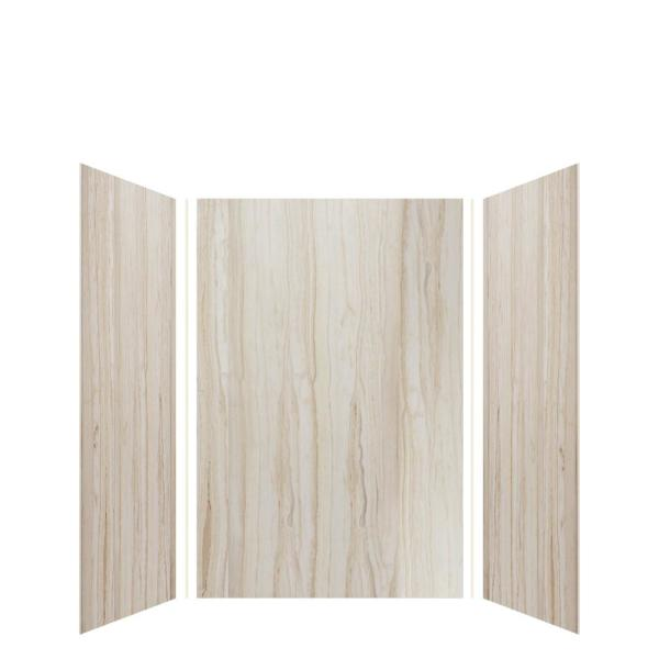 Expressions 48 in. x 48 in. x 72 in. 3-Piece Easy Up Adhesive Alcove Shower Wall Surround in Sorento