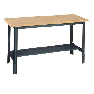 34 in. H x 60 in. W x 24 in. D Wooden Top Workbench with Shelf