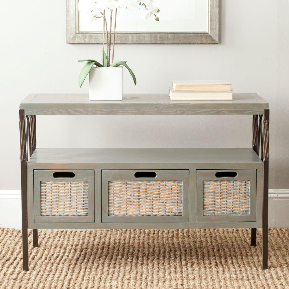 Safavieh Joshua Ash Grey Storage Console TableAMH6532B The Home Depot