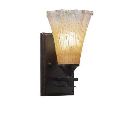 6.25 in. Dark Granite Sconce with 5.5 in. Amber Crystal Glass