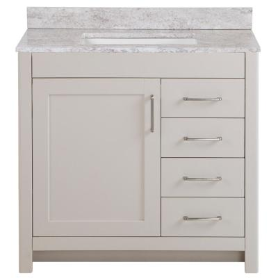Westcourt 37 in. W x 22 in. D Bath Vanity in Cream with Stone Effect Vanity Top in Winter Mist with White Sink