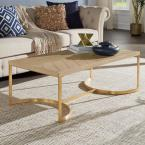Natural and Gold Metal Coffee Table