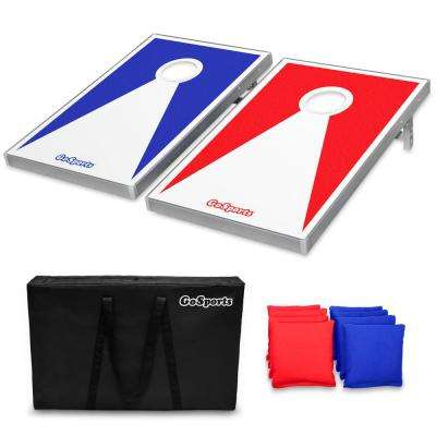 3 ft. x 2 ft. Red and Blue Edition Cornhole Bean Bag Toss Game Set - Superior Aluminum Frame