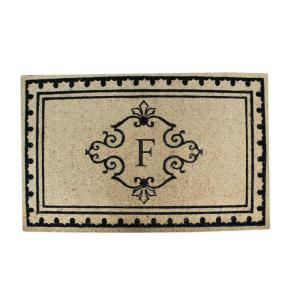 A1HC Artistic Border 30 inch x 48 inch Monogrammed F Anti Shred Treated Non Skid Door Mat by