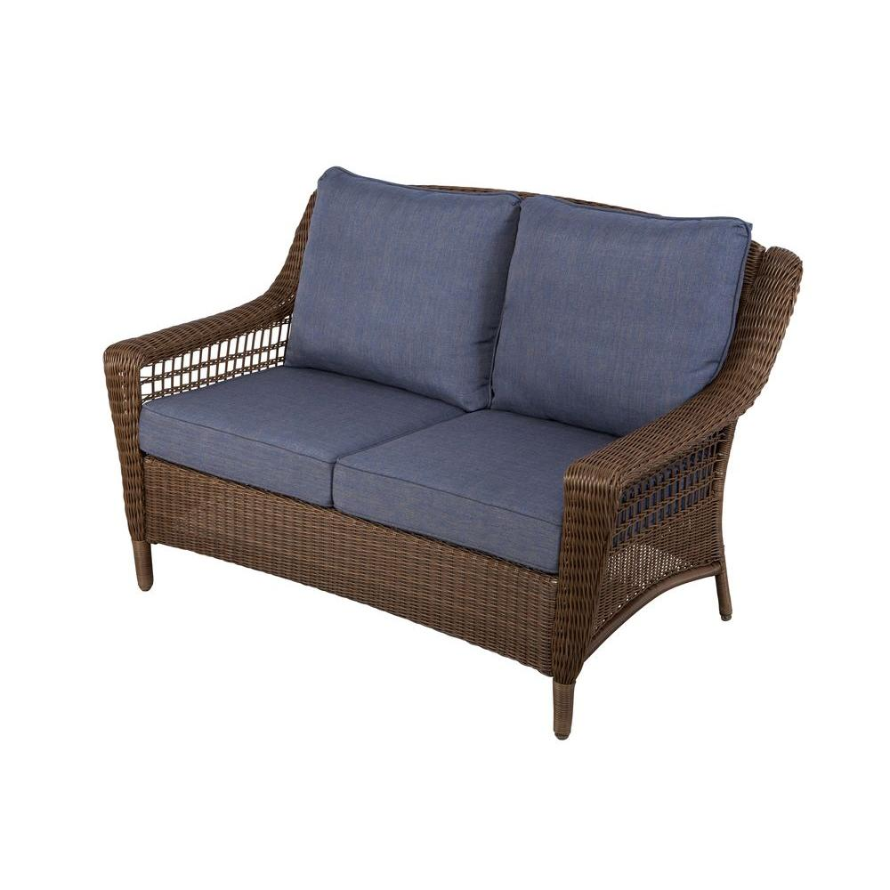 Hampton bay spring haven brown all weather wicker outdoor patio loveseat with sky blue cushions Garden loveseat