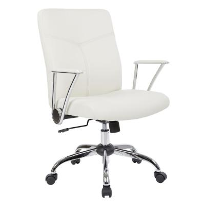 Cream Faux Leather Chair with Chrome Base