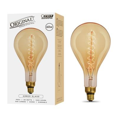 60W Equivalent PS52 Dimmable Incandescent Amber Glass Vintage Edison Large Light Bulb With Spiral Filament Soft White