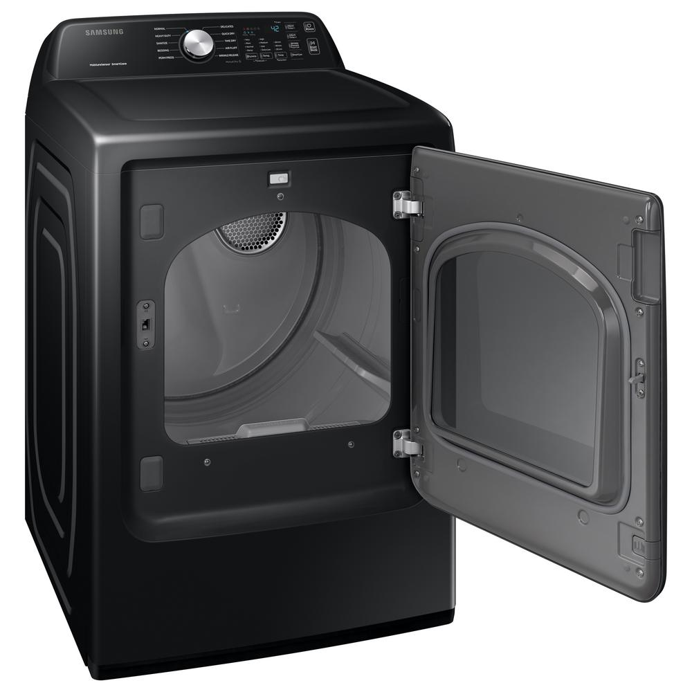 Samsung 7.4 cu. ft. 240-Volt Black Stainless Steel Electric Dryer with  Sanitize (Pedestals Sold Seperately)-DVE45T3400V - The Home Depot