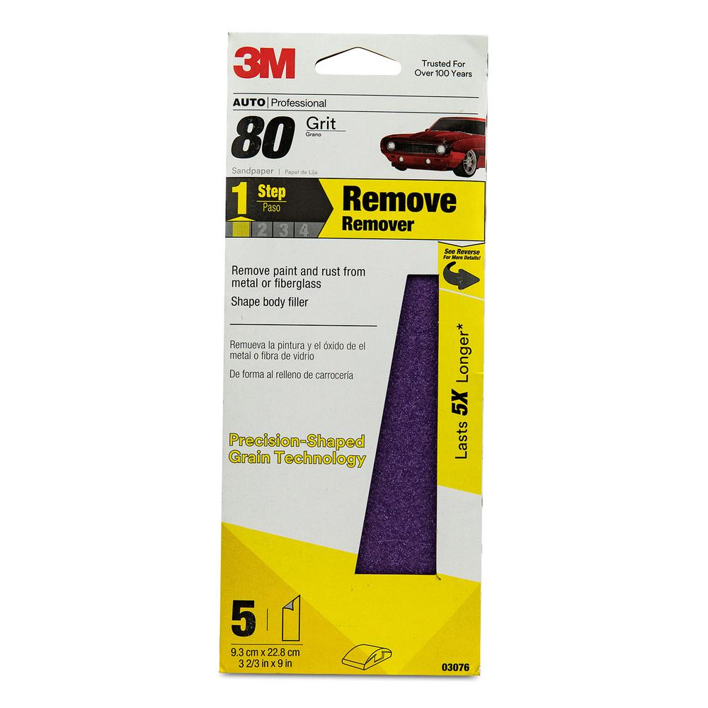 Performance 3-2/3 in. x 9 in. Sandpaper, 80 Grit (5-Pack) (Case