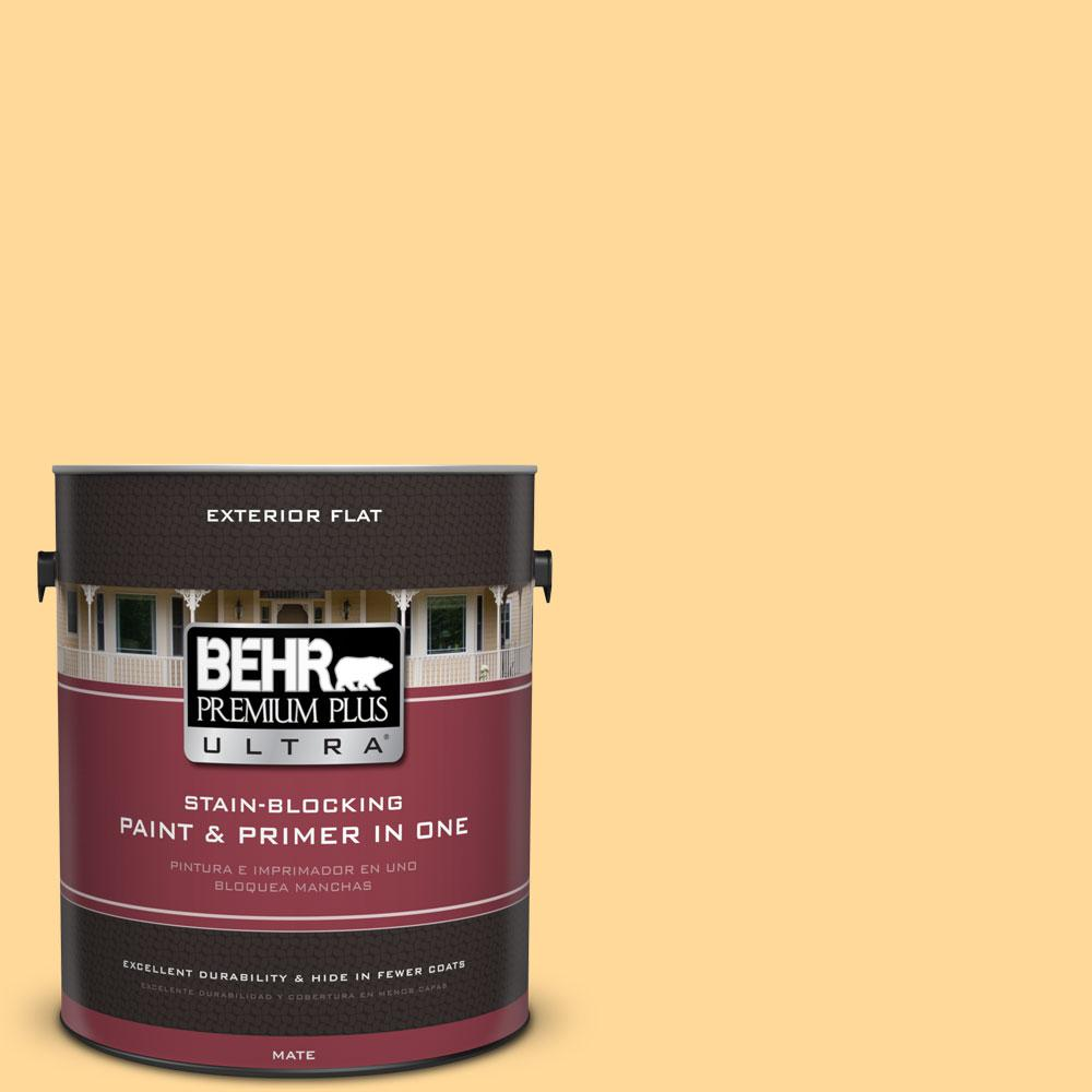 BEHR Premium Plus Ultra 1 gal. #P250-3 Marsh Marigold Flat Exterior Paint and Primer in One