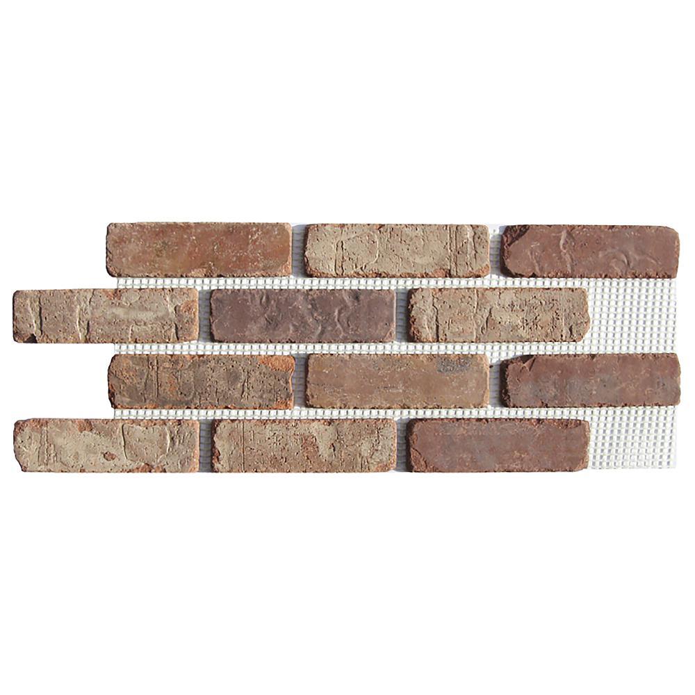 Brickweb Castle Gate 28 in. x 10-1/2 in. x 1/2 in. Clay Thin Brick Flats 8.7 sq. ft. (5-Box)