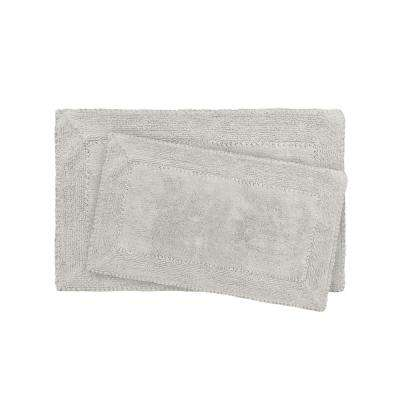 17 in. x 24 in. and 20 in. x 32 in. Gray Ruffle Cotton Bath Rug Set (2-Piece)