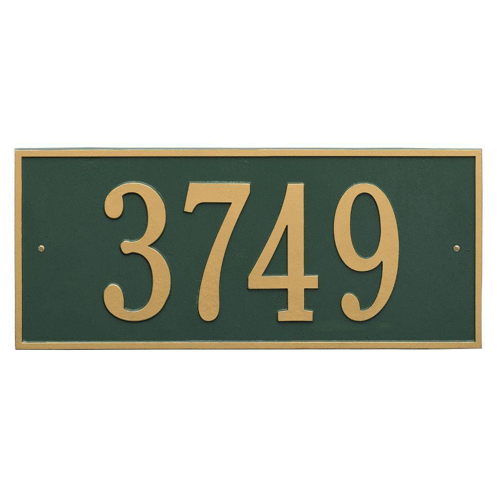 Hartford Rectangular Green/Gold Estate Wall 1-Line Address Plaque
