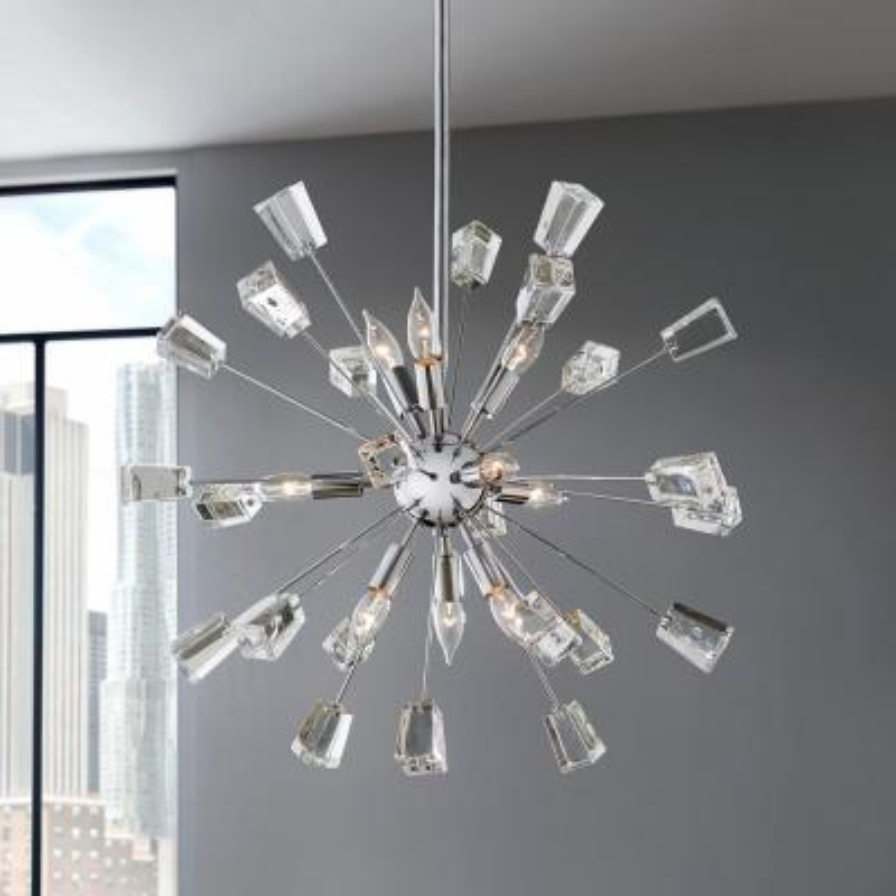 Kimberly 9-Light Crystal and Chrome Sputnik Chandelier