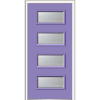 36 in. x 80 in. Celeste Right-Hand Inswing 4-Lite Clear Painted Fiberglass Smooth Prehung Front Door on 4-9/16 in. Frame