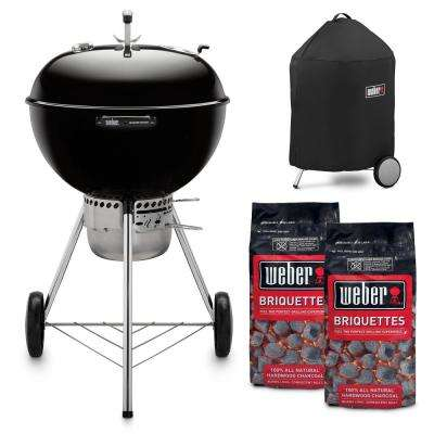 22 in. Master Touch Charcoal Grill in Black Combo with Grill Cover and 2-Bags of Weber Briquettes