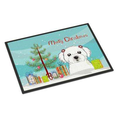 24 in. x 36 in. Indoor/Outdoor Christmas Tree and Maltese Door Mat