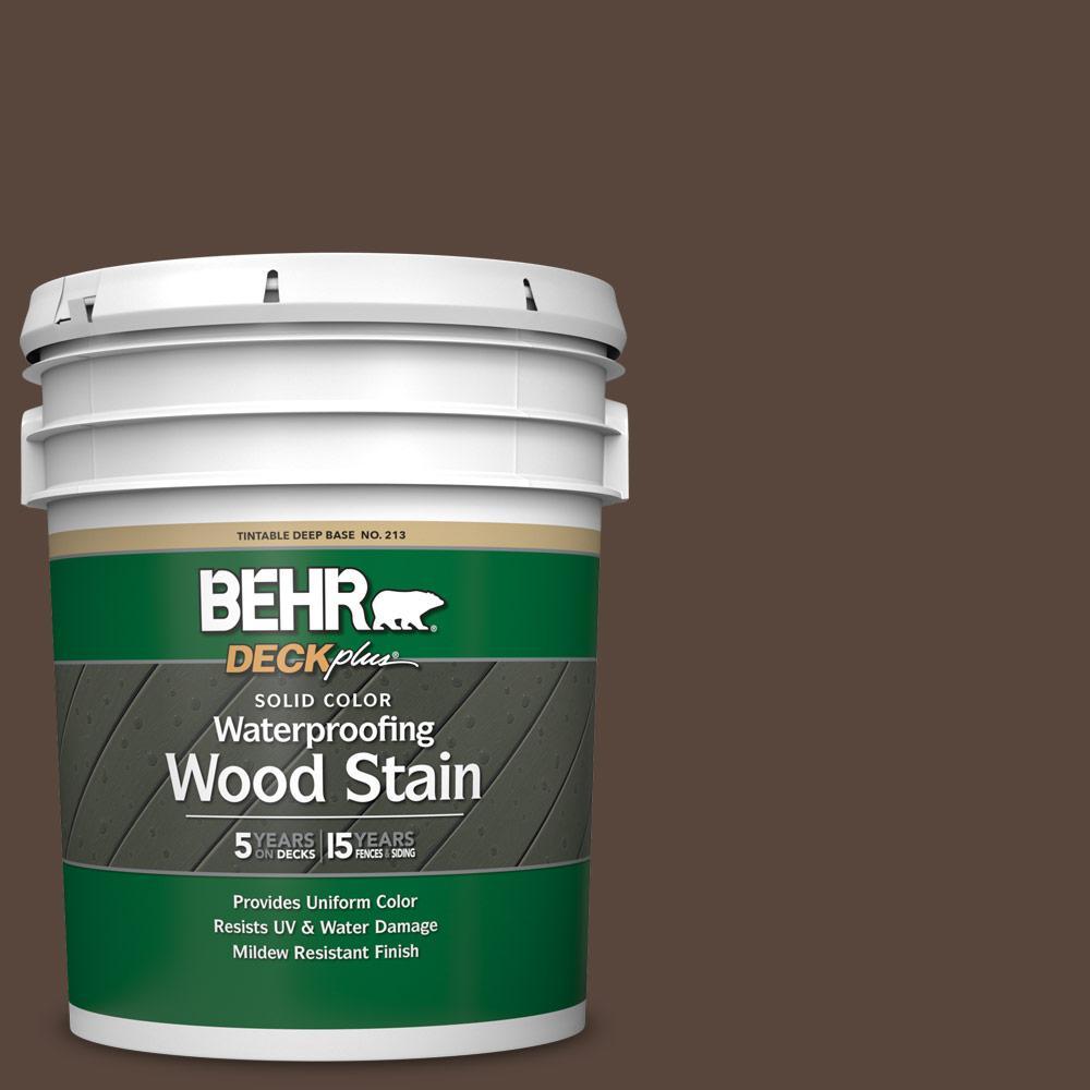 BEHR DECKplus 5 gal. #SC-105 Padre Brown Solid Color Waterproofing Exterior Wood Stain