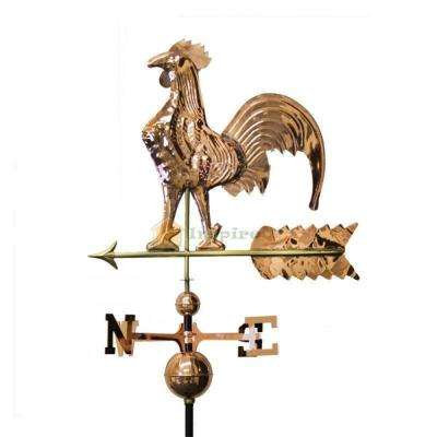Copper Plated Rooster Weathervane Polished with Roof Mount