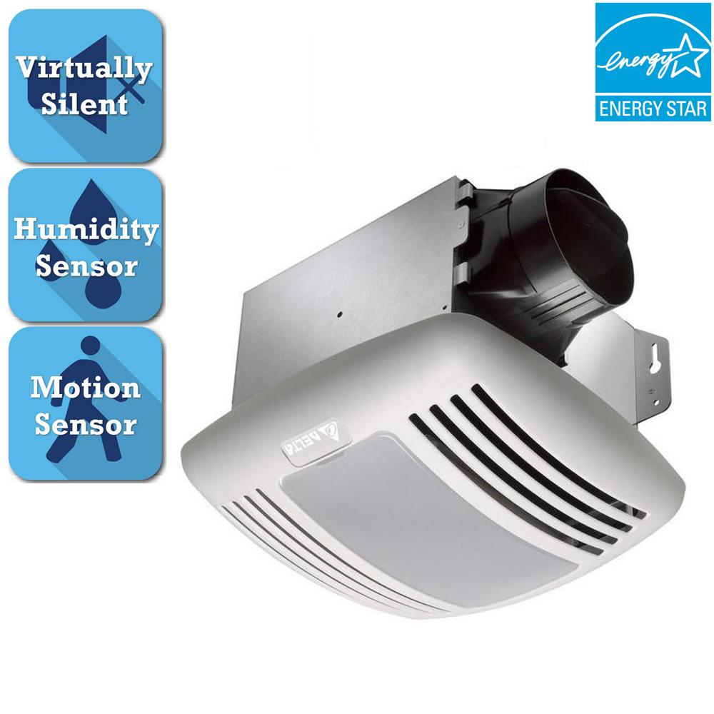 Delta Breez Greenbuilder Series 80 Cfm Lighted Ceiling Bathroom Exhaust Fan Humidity Motion Sensor