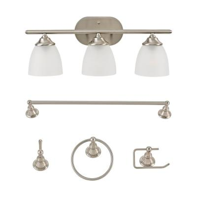 Gray Brushed Nickel Vanity Light All-In-One Bath Set (5-Piece)