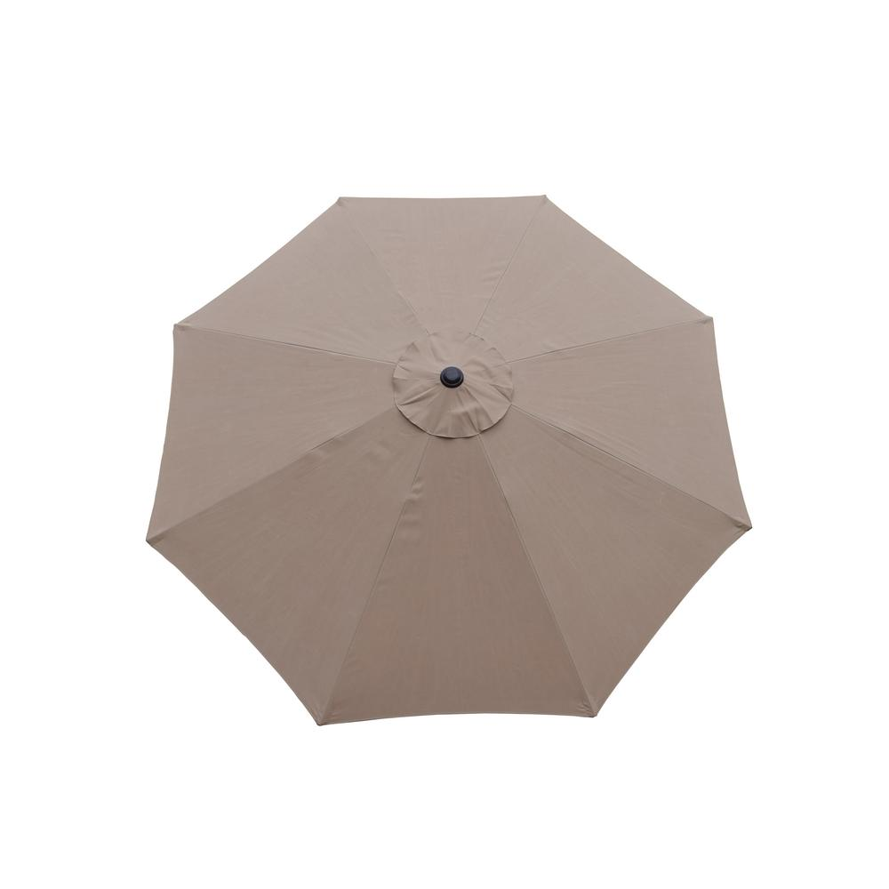 9 ft. Tilt Patio Umbrella in Champagne and Cast Iron Patio