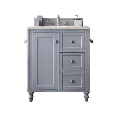 Copper Cove Encore 30 in. W Single Vanity in Silver Gray with Marble Vanity Top in Carrara White with White Basin