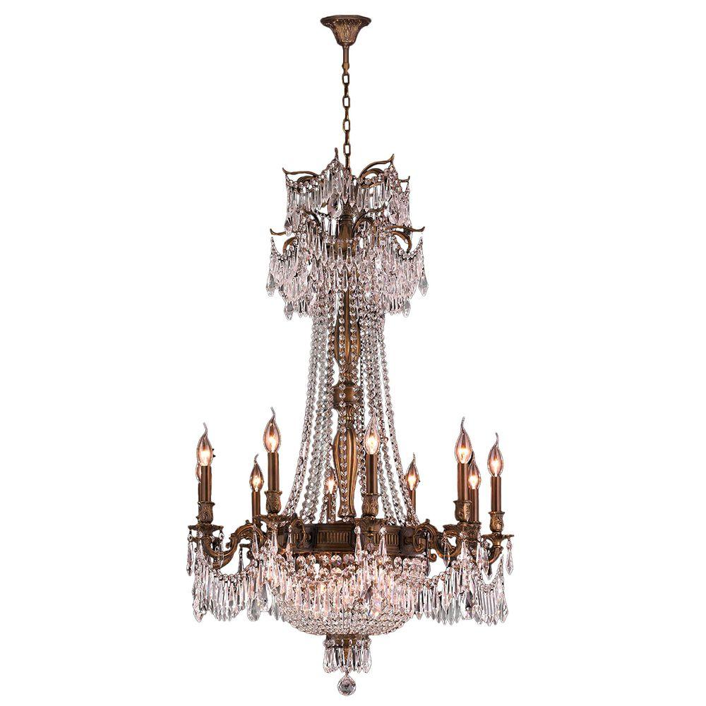 Worldwide Lighting Winchester 18-Light Antique Bronze and Clear Crystal Chandelier