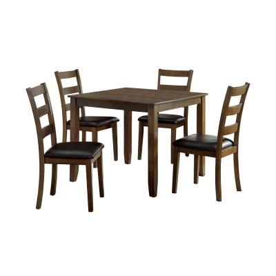 Chesterton 5-Piece Walnut and Dark Brown Dining Table Set
