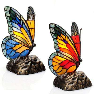 8 in. Multi-Colored Stained Glass Accent Lamps with Butterfly Touch Shades