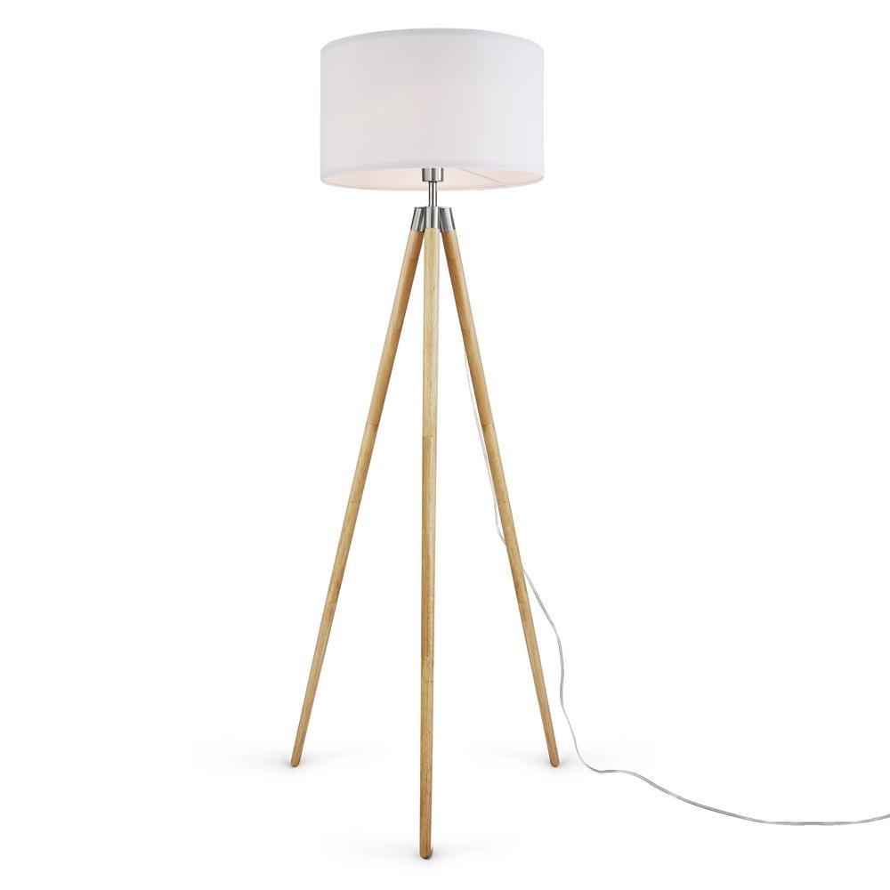 Celeste 61.5 in. White/Natural Tripod Floor Lamp