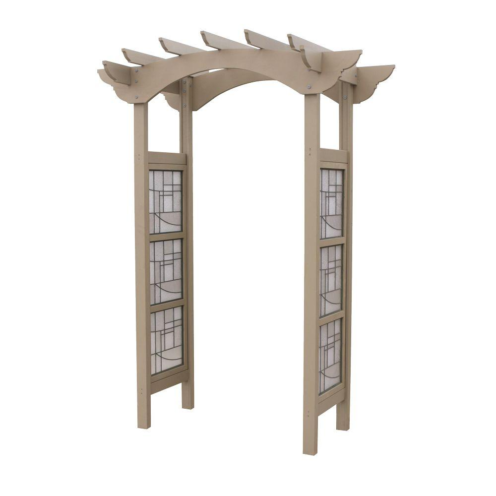 Yardistry 95.5 in. x 68.75 in. Cedar Faux Glass Garden Arbor