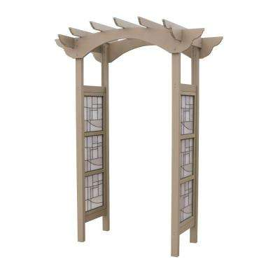 95.5 in. x 68.75 in. Cedar Faux Glass Garden Arbor
