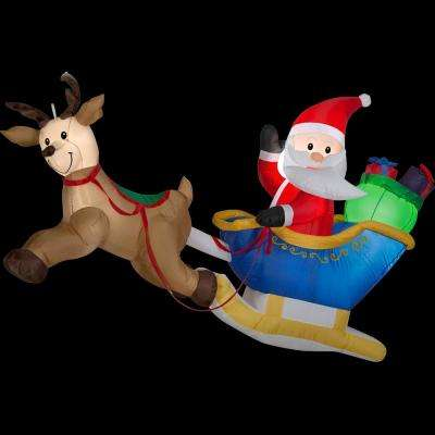 6 ft. W x 2 ft. D x 4 ft. H Inflatable Flying Santa and Reindeer