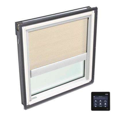 21 in. x 26-7/8 in. Fixed Deck-Mount Skylight with Laminated Low-E3 Glass and Beige Solar Powered Room Darkening Blind
