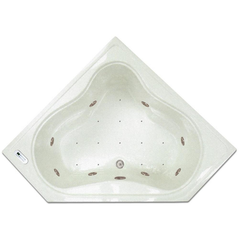 Pinnacle 4.48 ft. Corner Drop-In Whirlpool and Air Bath Tub in White ...
