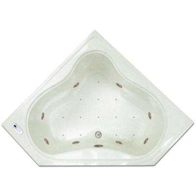 4.48 ft. Corner Drop-In Whirlpool and Air Bath Tub in White with Tranquility Package