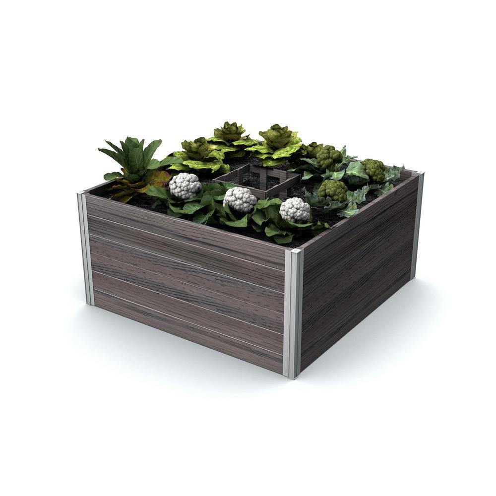 New England Arbors Urbana 48 in. x 48 in. x 22 in. Espresso Brown Vinyl Raised Composting Garden