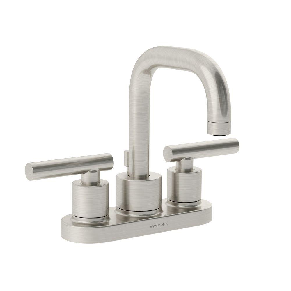 Symmons Dia 4 in. Centerset 2-Handle Mid-Arc Bathroom Faucet in Satin Nickel