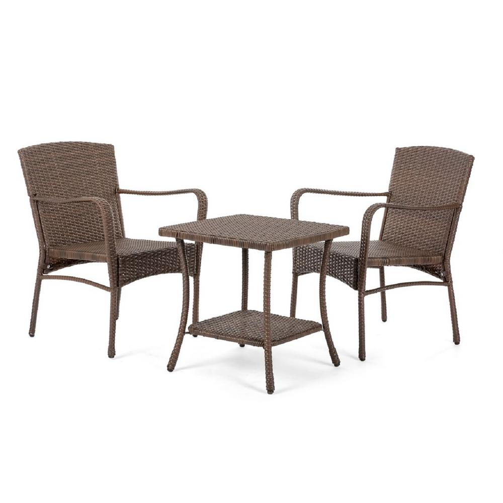 w unlimited leisure 3 piece wicker outdoor bistro set sw1616set3 the home depot. Black Bedroom Furniture Sets. Home Design Ideas