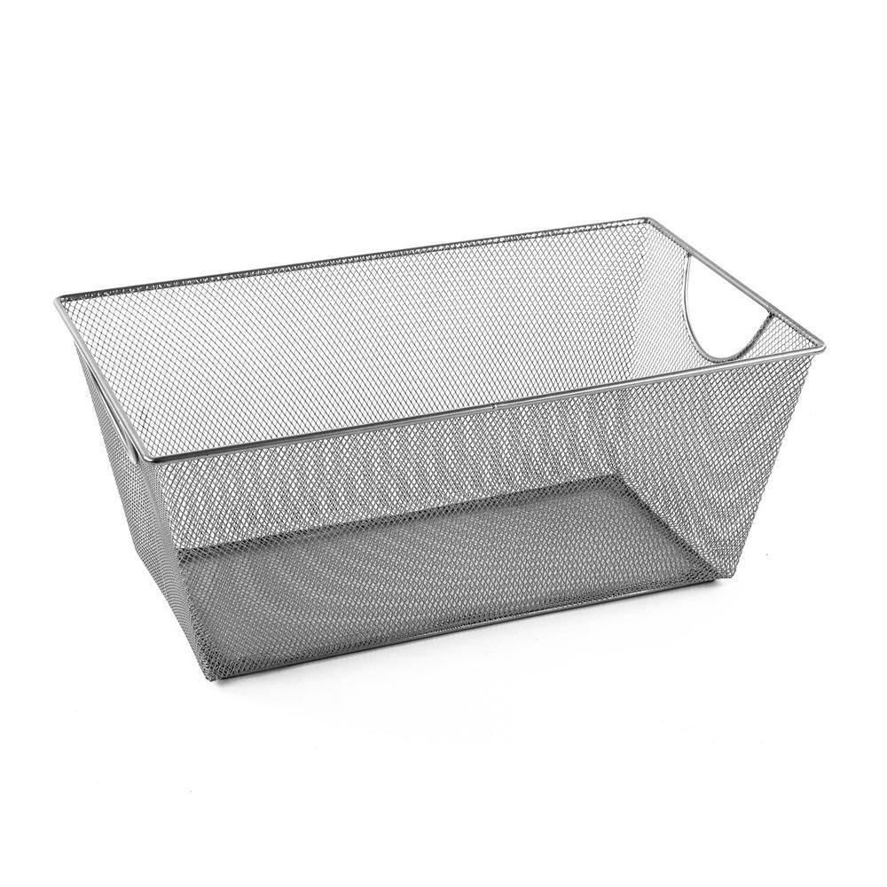 MeshWorks 28 Qt. Mesh Storage Bin in Silver